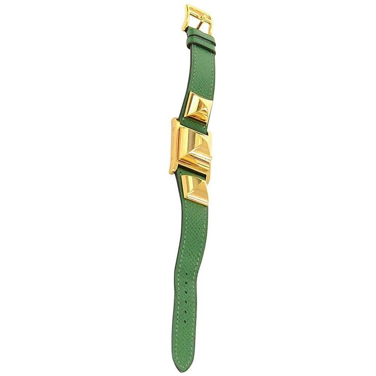 Hermes Medor PM Green Leather x Gold Tone Wrist Watch + Case For Sale