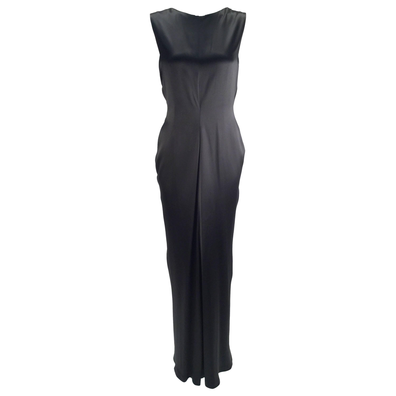1990s Oscar de la Renta Backless Black Satin Evening Dress Gown