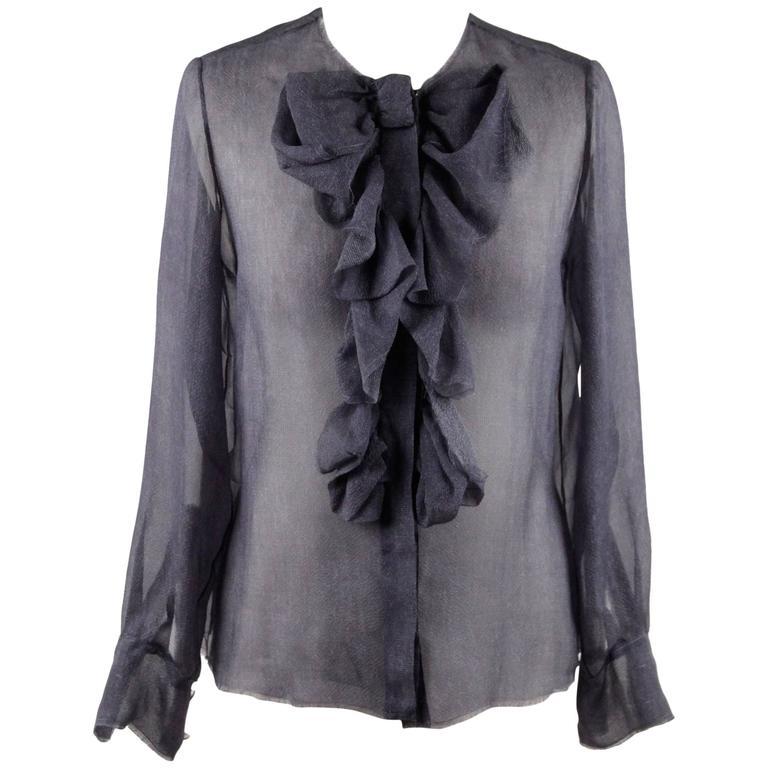 CHANEL Blue Chiffon Silky Fabric LONG SLEEVE SHIRT Blouse w/ RUFFLES For Sale