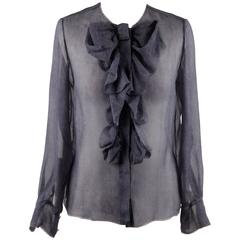 CHANEL Blue Chiffon Silky Fabric LONG SLEEVE SHIRT Blouse w/ RUFFLES