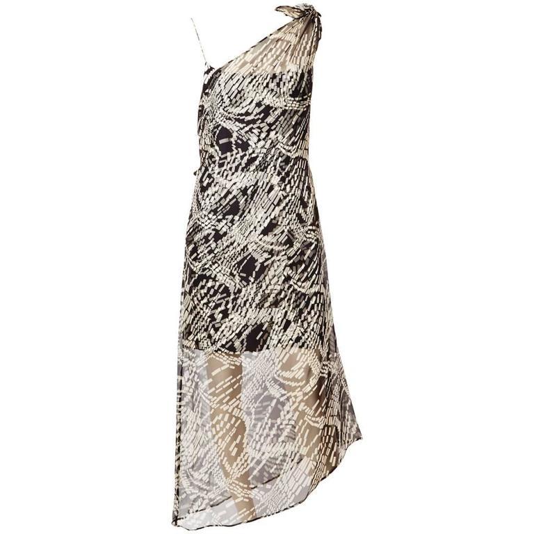 Mila Schon Chiffon One Shoulder Dress For Sale