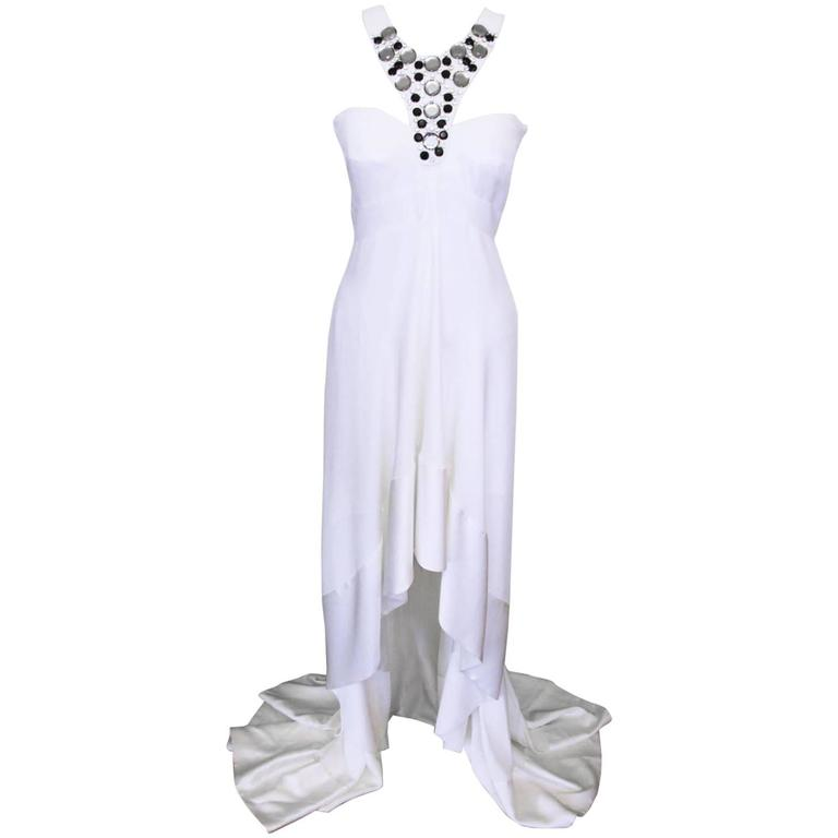 New Versace White Jeweled Halter Evening Gown with Train 1