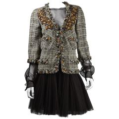 Chanel 2007A Demi Couture Brown TweedJacket/ Dress with Lambskin Flowers  FR 42