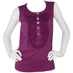 Chanel Purple Cotton Sleeveless Top sz 44