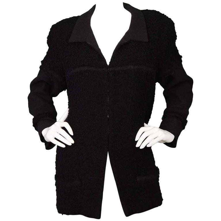 Chanel Black Heavy Boucle Overcoat sz 50 1