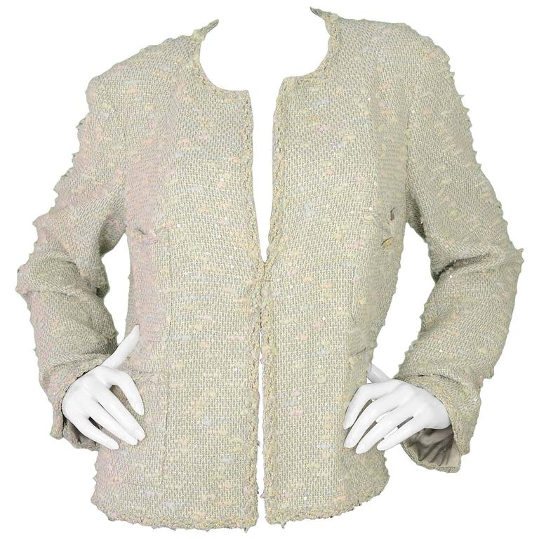 Chanel Pastel Blue Tweed Open Front Jacket sz 50 1