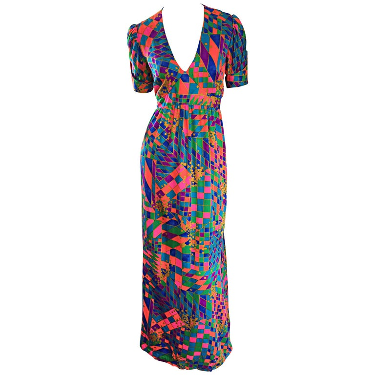 Rare 1970s ' Dear ' Designer Colorful Abstract Geometric Op - Art 70s Maxi Dress For Sale