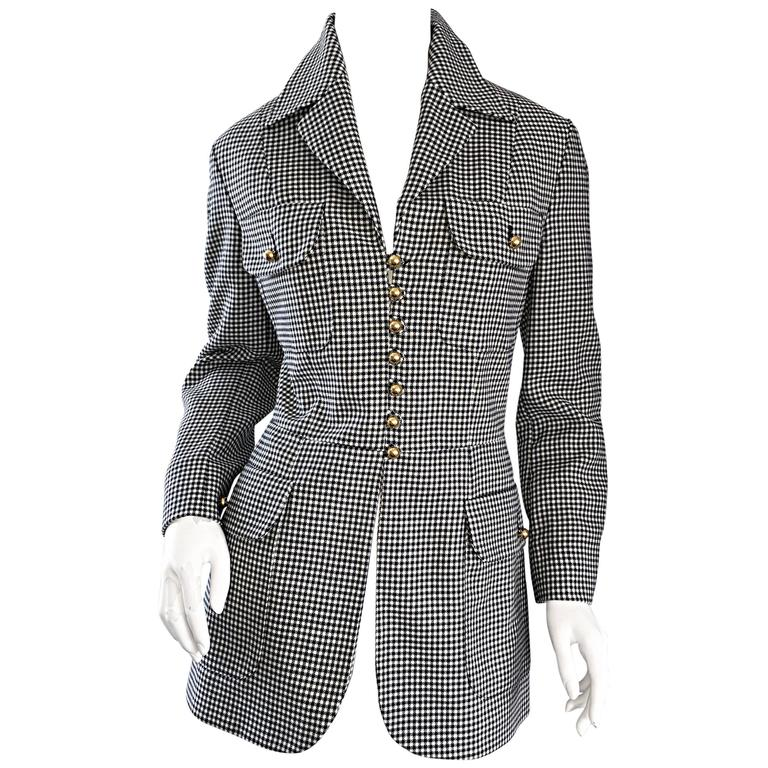 Moschino ' Cheap & Chic ' 1990s Black + White Houndstooth Military Safari Blazer