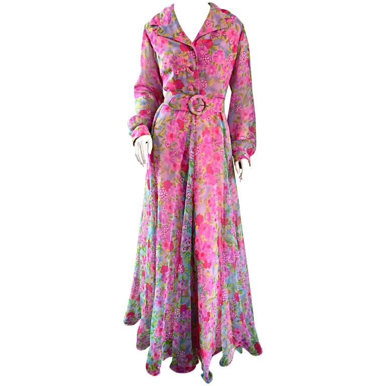 1970s Elliette Lewis Vintage Pink Chiffon Flower Print Belted Long Sleeve Dress