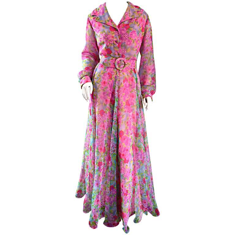 45a0df7de0 1970s Elliette Lewis Vintage Pink Chiffon Flower Print Belted Long Sleeve  Dress For Sale