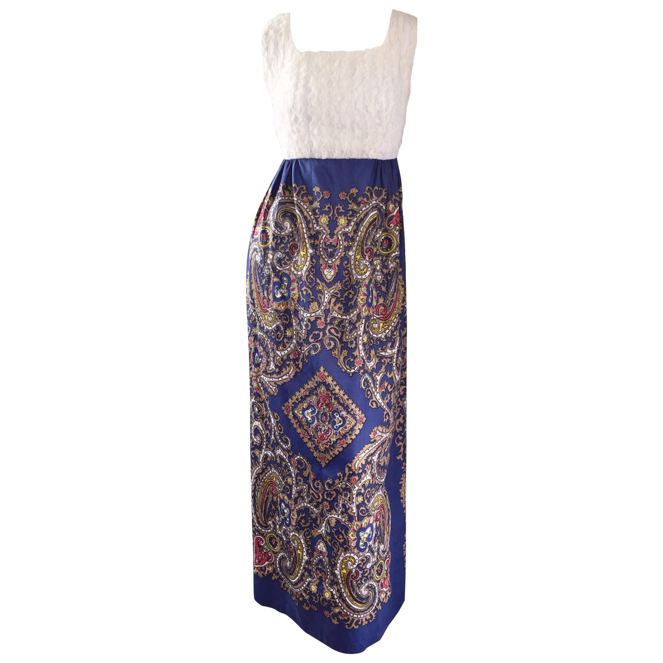 1970s White Silk Lace + Blue Cotton Intricate Paisley Jewel Boho 70s Maxi Dress