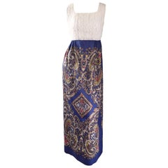 1970s White Silk Lace + Blue Cotton Intricate Paisley Jewel Boho 70s Maxi Dress