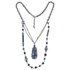 Chanel 10A Shanghai Collection Blue Enamel Necklace