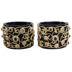 Chanel 11A Byzantine Collection Double Cuff Bracelet Set