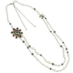 Chanel 11A Byzantine Collection Red Glass and Pearl Double Necklace