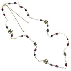 Chanel 11A Byzantine Collection Red Glass and Pearl Sautoir Necklace