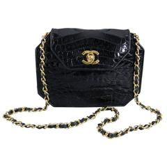 Chanel Black Crocodile Octagonal Purse with Chain Strap