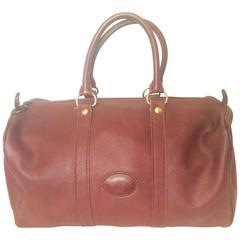 80's Vintage Longchamp rare dark wine leather duffle bag, mini travel purse.