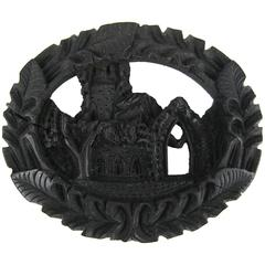 Victorian Whitby Jet Muckross House Mourning Brooch