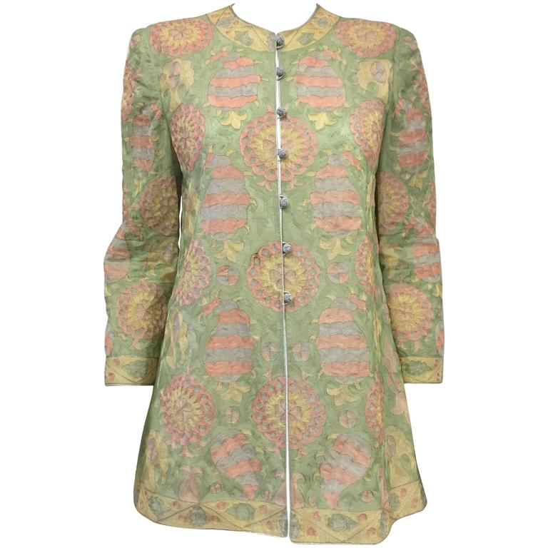 Mary McFadden Couture Pastel Embroidered Silk Jacket W Gold/Silver Thread