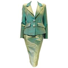 Vivienne Westwood Anglomania Green and Gold Iridescent Cotton Skirt Suit