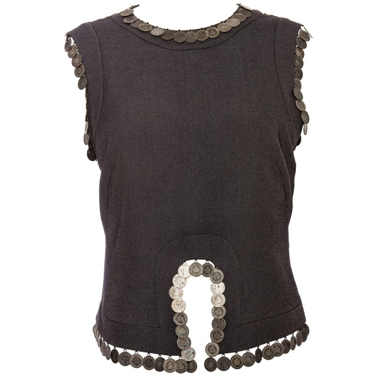 Alexander McQueen Runway Grey Wool Sleeveless Top Appliquéd Coins, Spring 2000 For Sale