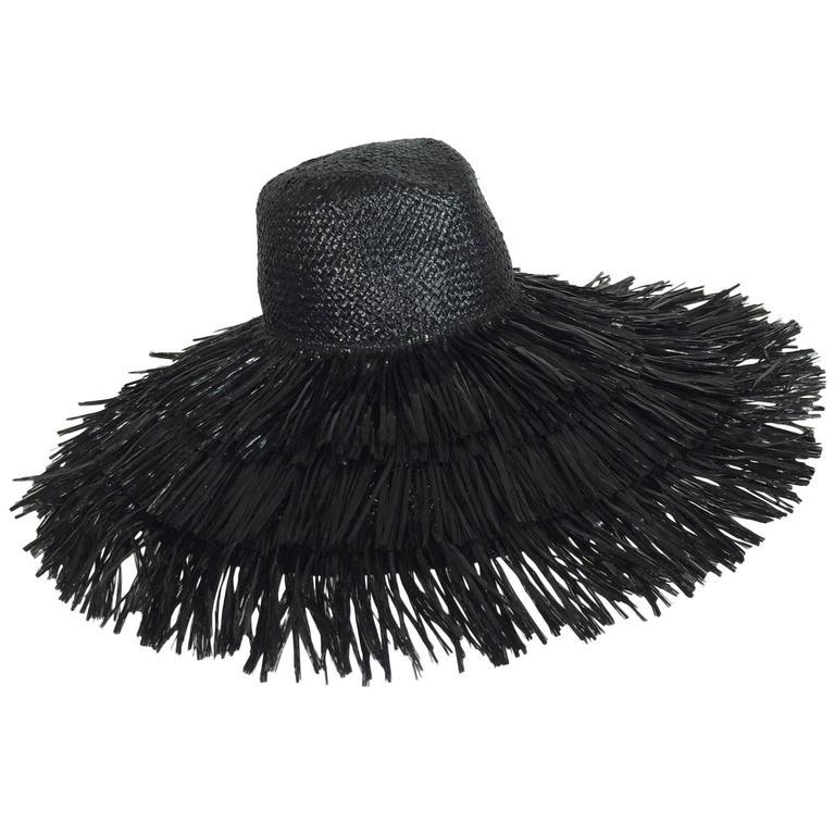 Vintage Eric Javits glazed black straw shaggy finge wide brim hat 1980s unworn 1