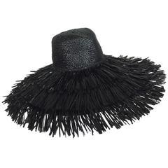Vintage Eric Javits glazed black straw shaggy finge wide brim hat 1980s unworn