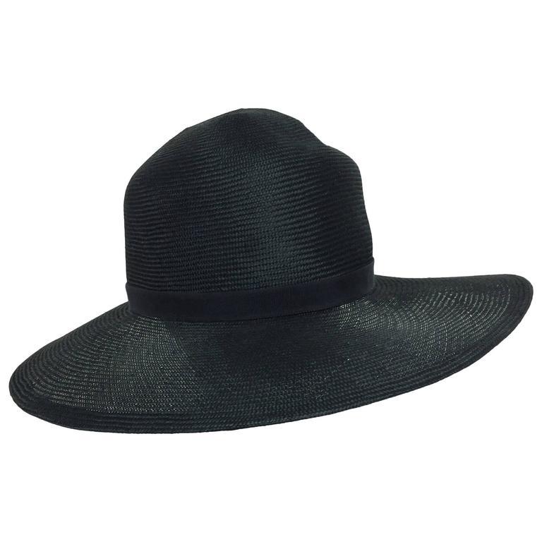 Vintage Galanos fine woven black straw fedora hat 1960s