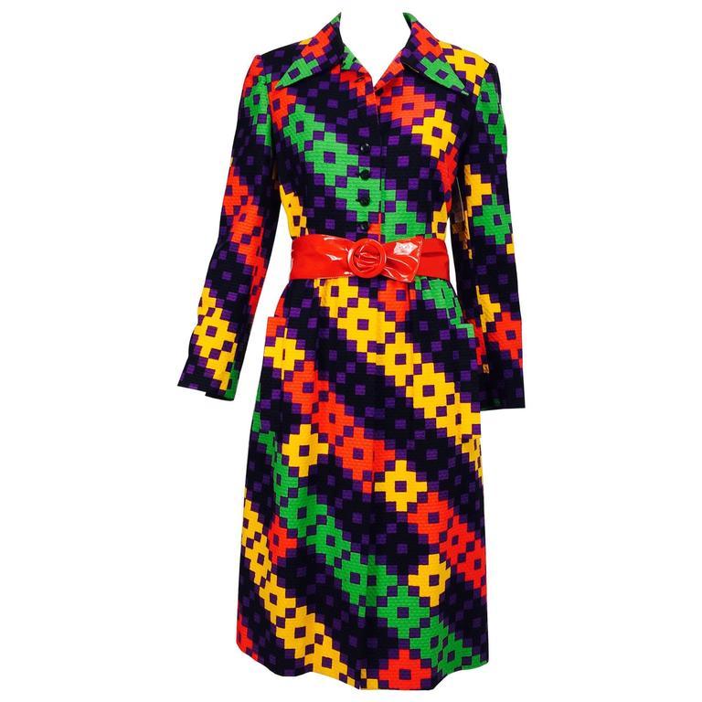 Vintage Lanvin Paris geometric print plisse belted coat 1970s