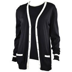 Chanel Boutique 1996P  Black Cotton Sweater Set with White Trim FR44
