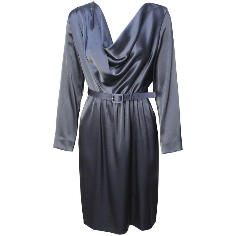 St. John Elegant Pewter Grey Dress For Sale