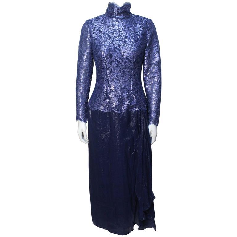 1970s Bob Mackie Glamorous Navy Lace and Silk Chiffon Evening Dress