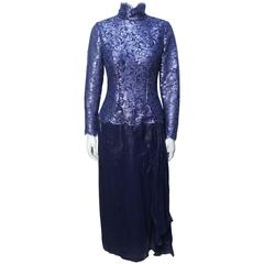 1970s Bob Mackie Glamorous Navy Lace and Silk Chiffon Evening Dress