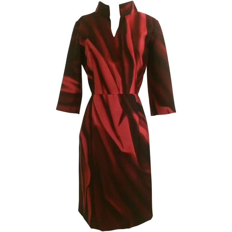 Oscar de la Renta Merlot Red Silk Print Fitted Shirt Dress