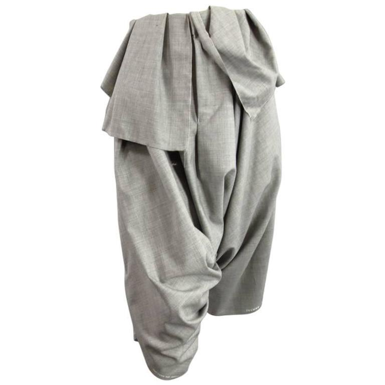 COMME des GARCONS Size S Grey Wool Deconstructed Draped Drop Crotch Pants 1