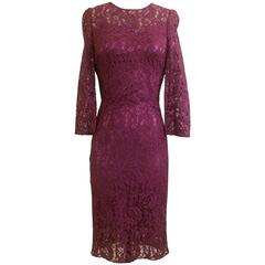 Dolce & Gabbana Purple Iced Plum Lace Pencil Dress with Silk Slip