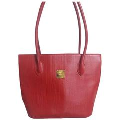 Vintage MCM red lizard embossed leather tote bag, Designed by Michael Cromer