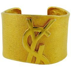 Yves Saint Laurent YSL Vintage Logo Ribbed Cuff Bracelet
