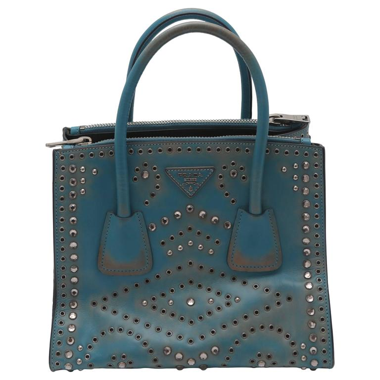 Prada Vitello Vintage Embellished Tote Fall 2014 1