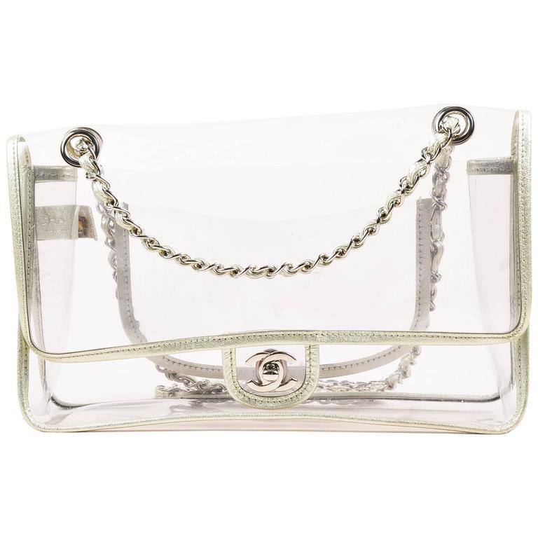 "Chanel Clear PVC Silver Tone Metallic Chain Strap ""Naked"" Flap Bag 1"