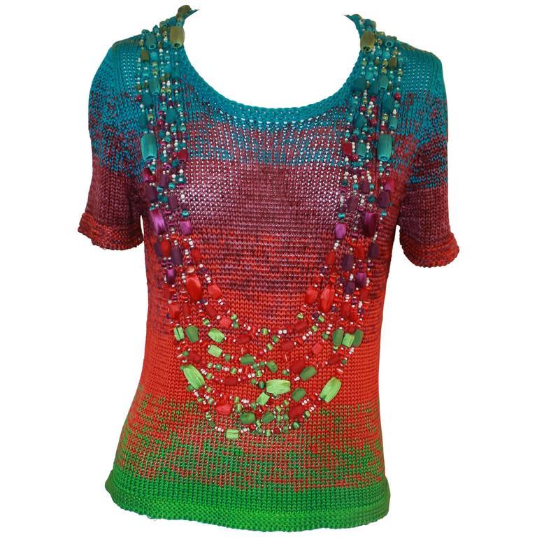 Oscar de la Renta Multi-color Silk Knit Beaded Top - S For Sale