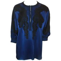 Andrew GN Blue & Black Silk Tunic Top with Lace Detail - 40
