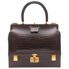 1978 Hermes Shiny Crocodile Porosus Sac Mallette Steele Trunk Case