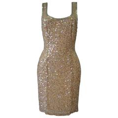 Oleg Cassini Black Tie Beige Sequin Silk Dress