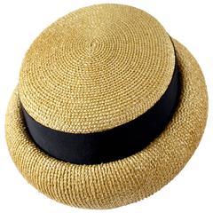 Vintage Chanel Tan and Black Grosgrain Ribbon Rolled Brim Hat