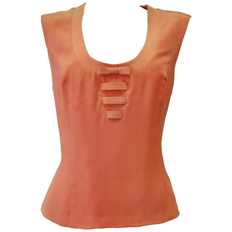 Gianni Versace Couture Peach Bow Front Silk Tank Top