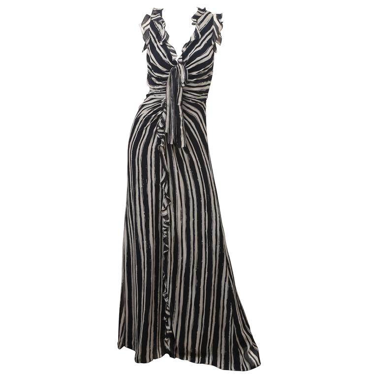 Carolina Herrera S/L Navy/Ivory Striped Gown 1
