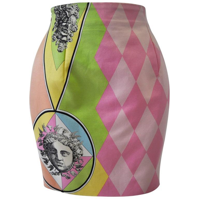 Gianni Versace Couture Harlequin Teatro Medusa Print Skirt 1