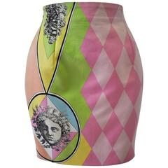Gianni Versace Couture Harlequin Teatro Medusa Print Skirt